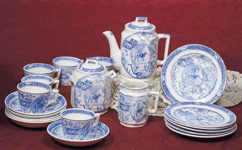 24: BLUE AND WHITE DINNERWARE SET.  Marks: No. 766/ R #