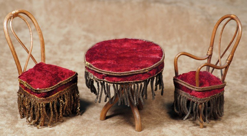 28: FRENCH MINIATURE BENTWOOD TABLE AND CHAIRS.  Chair