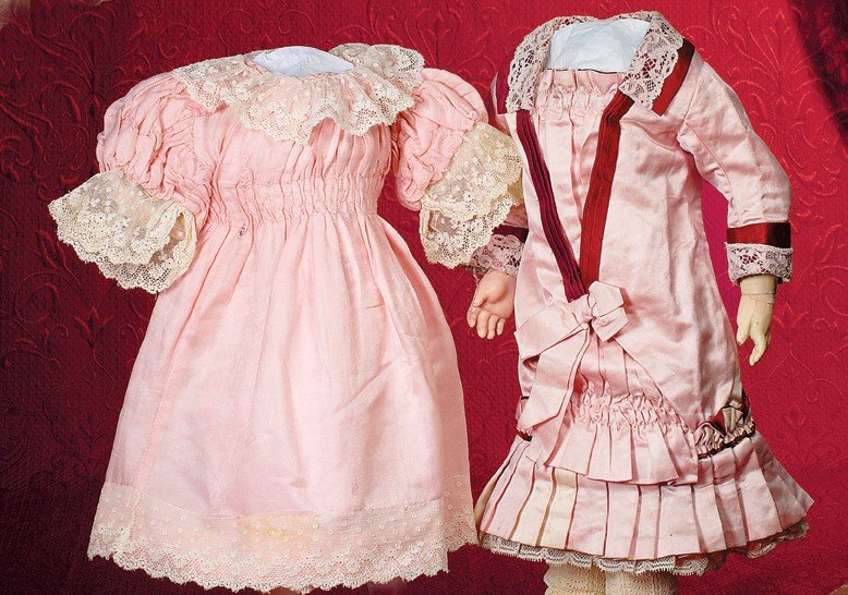 33: ANTIQUE FRENCH PINK AND MAROON SILK/SATIN FROCK.  7