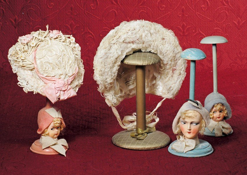 """36: THREE DOLL HAT STANDS.  9 ½"""" to 10"""".  Each is woode"""