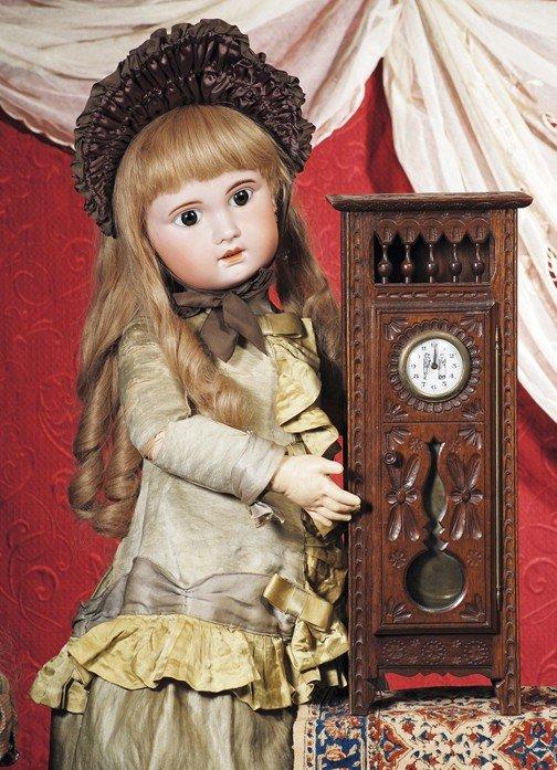 """77: BRITTANY, CIRCA 1900 GRANDFATHER-STYLE CLOCK.  18"""""""