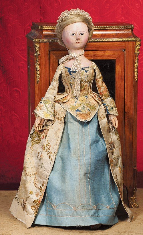 """138: A FINE, LARGE ENGLISH WOODEN DOLL KNOWN AS """"QUEEN"""