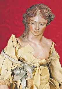 "19TH CENTURY NEAPOLITAN FIGURE OF WOMAN.  14"".  Sc"