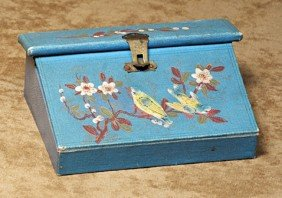 """FRENCH """"PAPETERIE"""". 4 �"""" W.  Blue Leather And Fabr"""