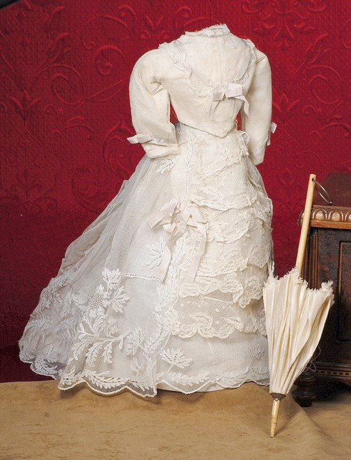 "152: ANTIQUE FRENCH FASHION WEDDING GOWN.  4 ½"" across"