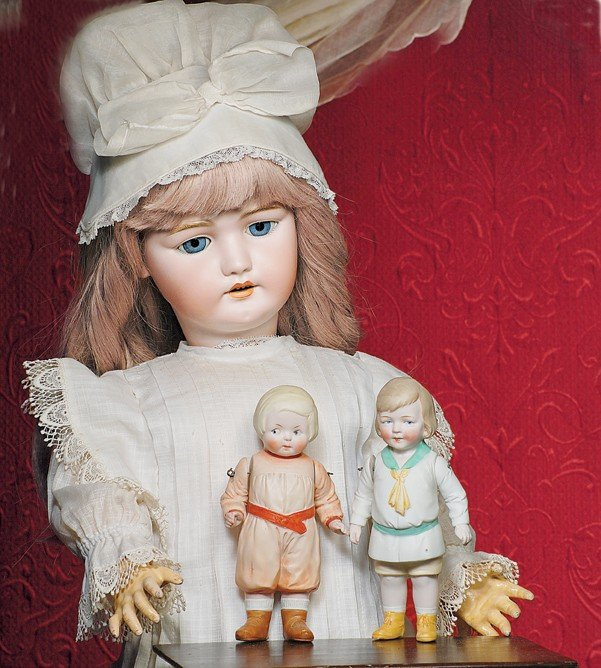"163: TWO GERMAN ALL-BISQUE DOLLS.  7 ¼"".  Each is all-b"