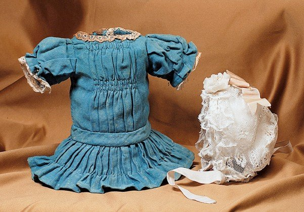 """178: TEAL BLUE COTTON FROCK WITH SHIRRED DETAIL.  4"""" sh"""