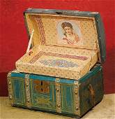 """211: SMALL ANTIQUE DOLL TRUNK. 10"""" wide x 7"""" high. Wo"""