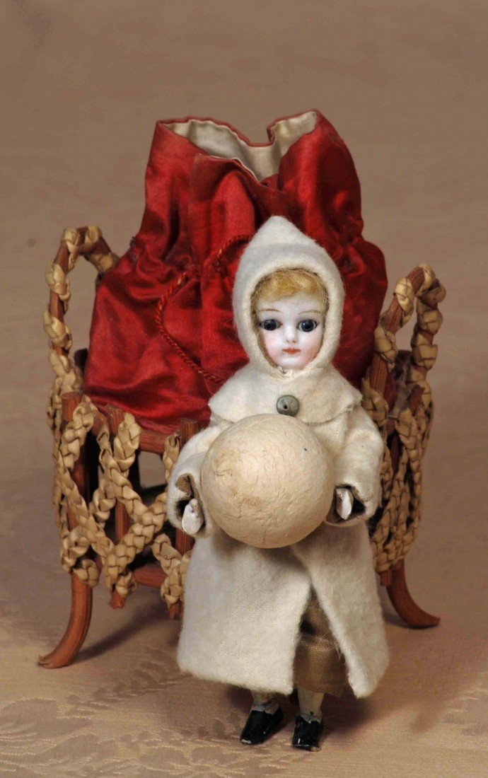 2: GERMAN CANDY CONTAINER BISQUE DOLL WITH SNOW BALL