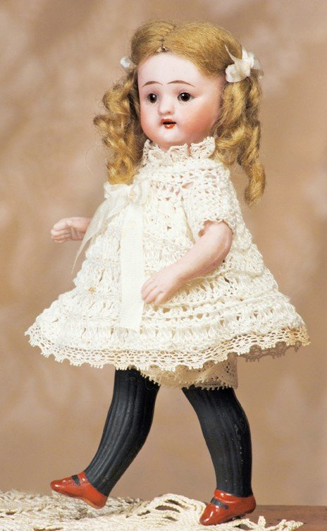 4: TINY SIMON & HALBIG ALL-BISQUE DOLL WITH LONG BLACK