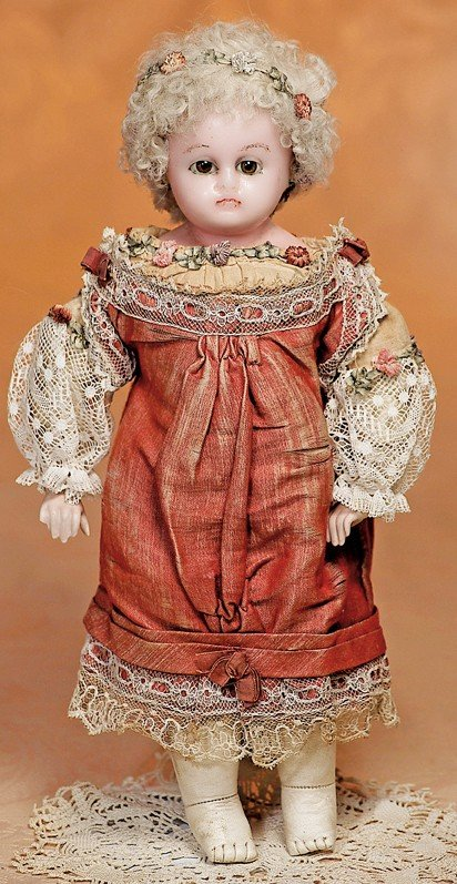 14: GERMAN WAX-OVER-PAPIER MACHE DOLL