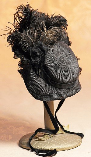 19: BLACK SILK & LACE DOLL BONNET WITH SIGNATURE