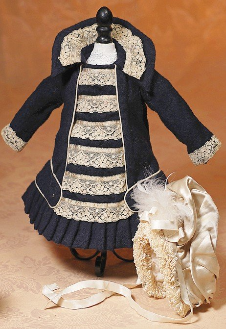 21: NAVY WOOL FRENCH-STYLE FROCK & IVORY SILK BONNET