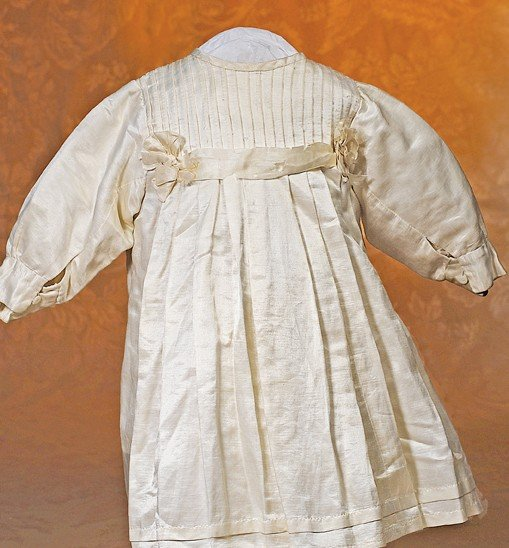 23: ANTIQUE IVORY SILK DOLL DRESS
