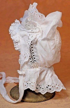 ANTIQUE WHITE COTTON EYELET BONNET