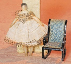 WAX DOLLHOUSE DOLL & ROCKING CHAIR