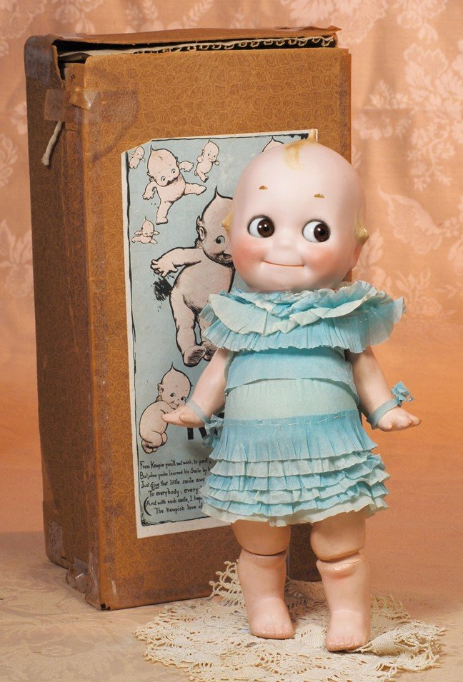 146: KESTNER BISQUE KEWPIE IN RARE TURQUOISE PARTY DRES
