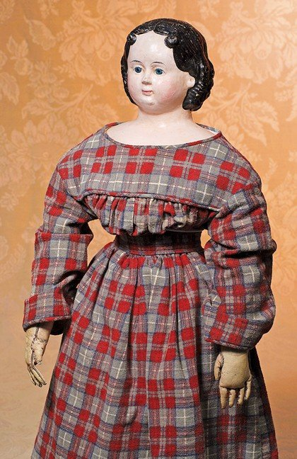163: EARLY 1858 AMERICAN PAPIER MACHE DOLL BY LUDWIG GR