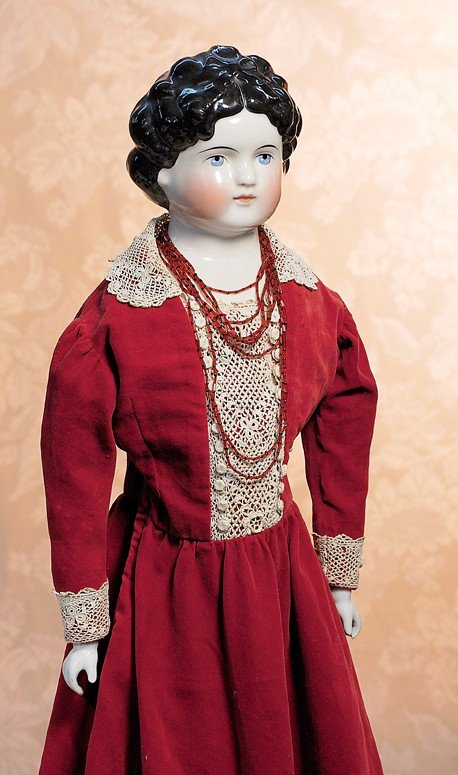 164: LARGE GERMAN CHINA LADY WITH DOLLY MADISON HAIR ST