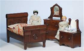 """210: TWO SMALL GERMAN BISQUE DOLLS. 10"""" shoulderhead d"""