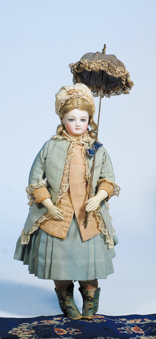211:  JUMEAU FRENCH BISQUE POUPEE IN ORIGINAL COSTUME.