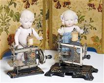 """229: PAIR OF GERMAN ALL-BISQUE DOLLS. 7"""". Pink-tinted"""