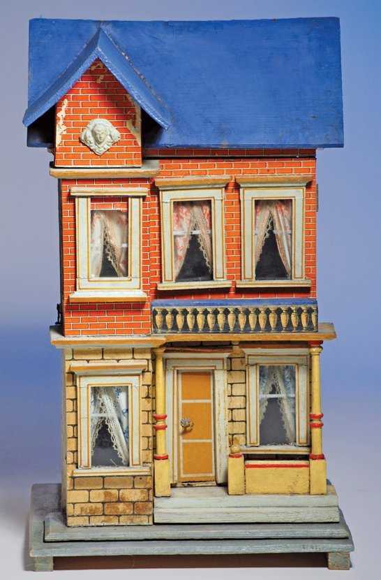 "352:  BLUE-ROOFED DOLL HOUSE BY GOTTSCHALCK. 18""H. x 12"