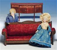 """355: TWO GERMAN BISQUE DOLL HOUSE DOLLS. 5 ¾"""". Each ha"""