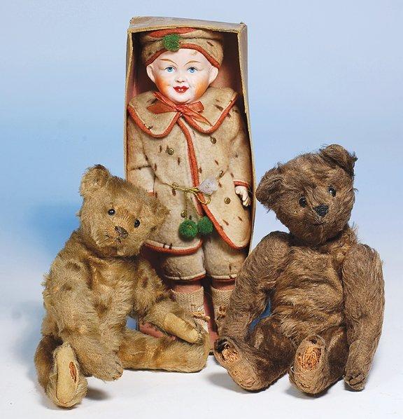 383:  EARLY GERMAN CHOCOLATE BROWN MOHAIR TEDDY BEAR. 1