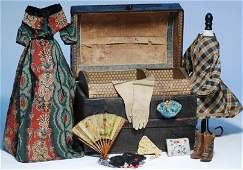 493B: ANTIQUE DOLL TRUNK WITH CLOTHING AND ACCESSORY I
