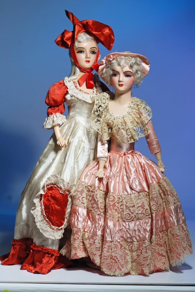 """502:  TWO COMPOSITION BOUDOIR DOLLS. 26"""" and 28"""". Marks"""
