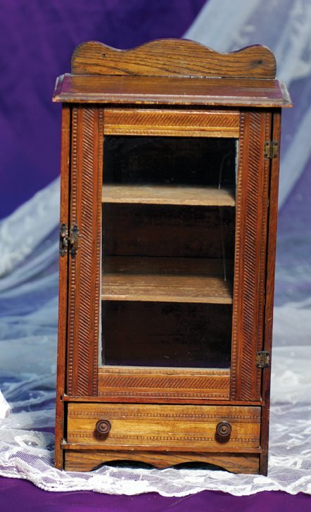 21: DOLL-SIZE WOODEN ARMOIRE