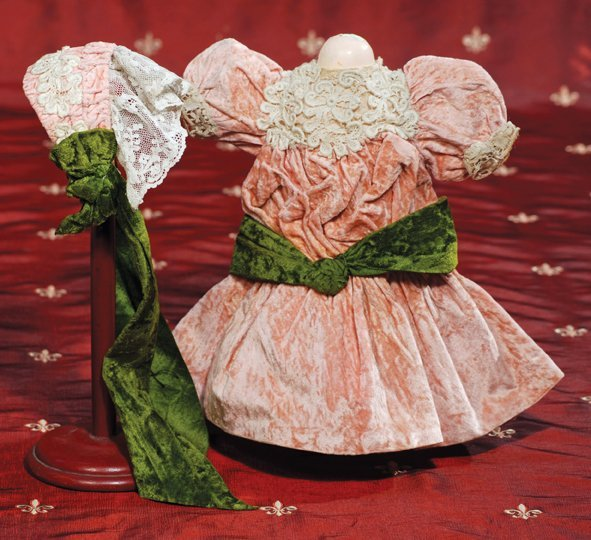 "2: ANTIQUE ROSE-CORAL DRESS WITH MATCHING BONNET.  4"" s"