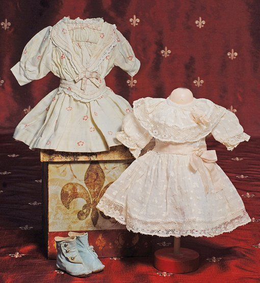 "3: TWO ANTIQUE DRESSES FOR SMALL DOLLS.  Each  4"" shoul"