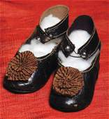 98: PAIR OF ANTIQUE FRENCH LEATHER DOLL SHOES. Marks: