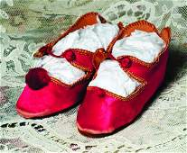 PAIR OF RED SILK DOLL SHOES  Marks 8  3  L  Red