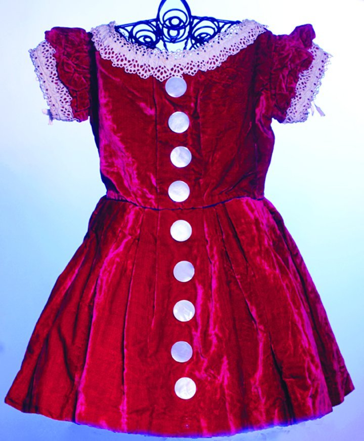 ANTIQUE RED VELVET DRESS WITH CUT-WORK LACE TRIM.  11""