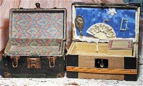 TWO ANTIQUE DOLL TRUNKS
