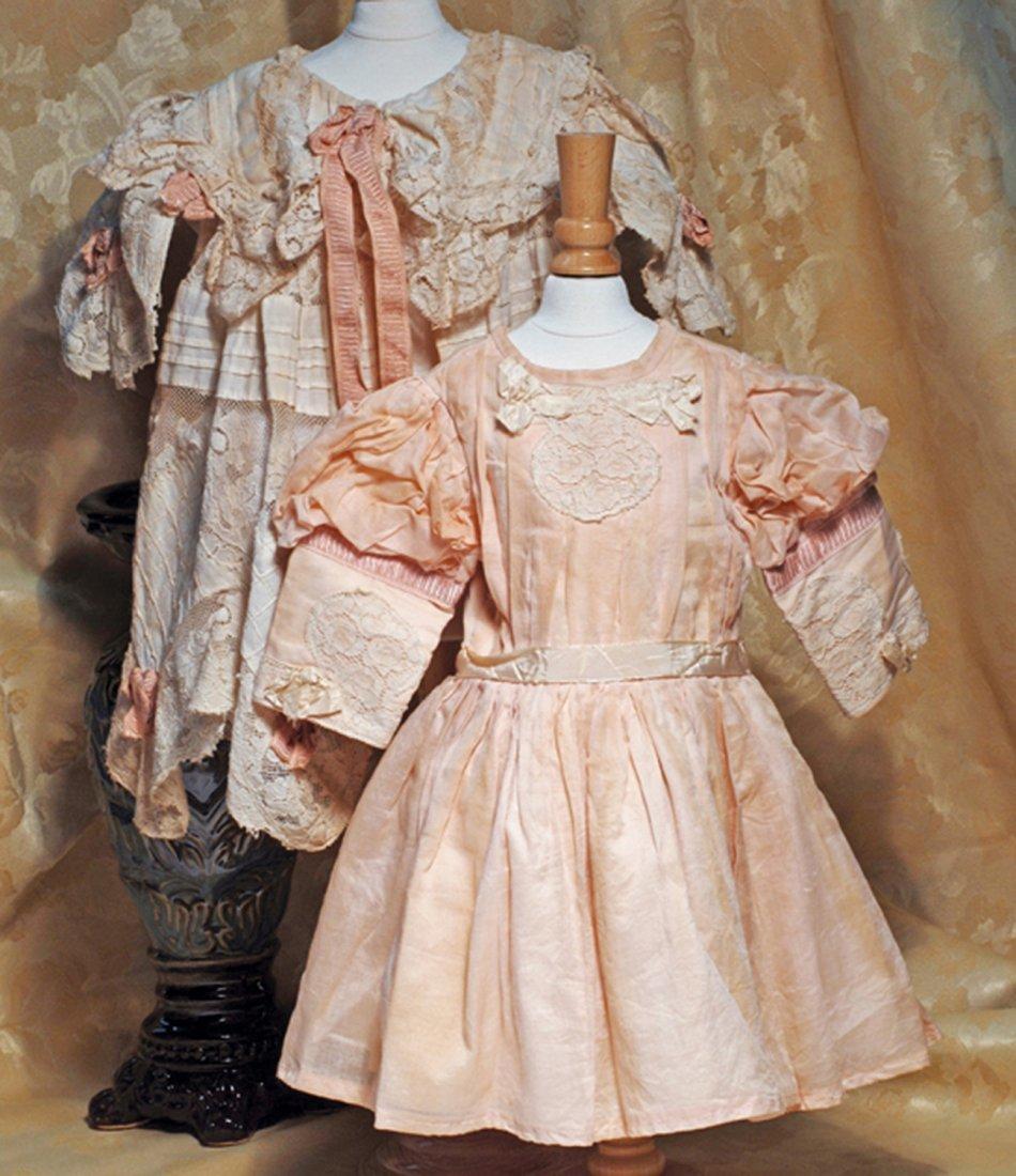 FANCY PALE PEACH COTTON DRESS WITH LAVISH LACE JACKET.