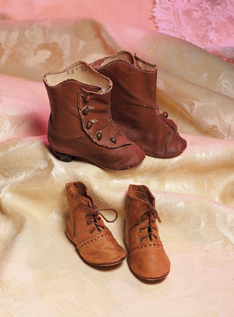 "TWO PAIR OF ANTIQUE DOLL BOOTS.  (1) 3"" L. pair of"
