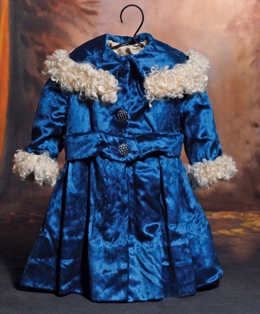 """BLUE VELVET COAT FOR LARGE DOLL.  10"""" shoulder width,"""