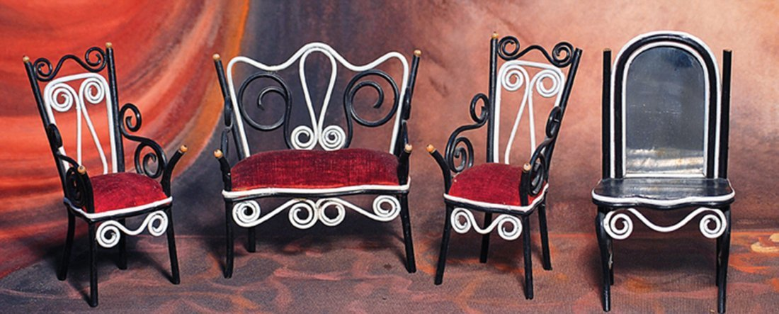"GERMAN BENTWOOD DOLL HOUSE FURNITURE.  6"" L. settee."