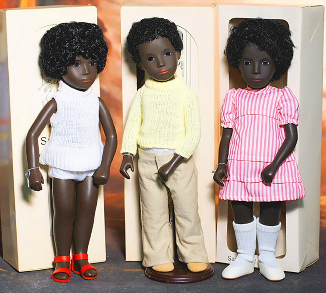 THREE BLACK SASHA DOLLS BY GOTZ - CORA & CALEB PAIR,