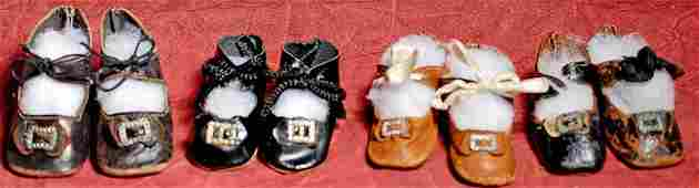 FOUR PAIR OF ANTIQUE DOLL SHOES