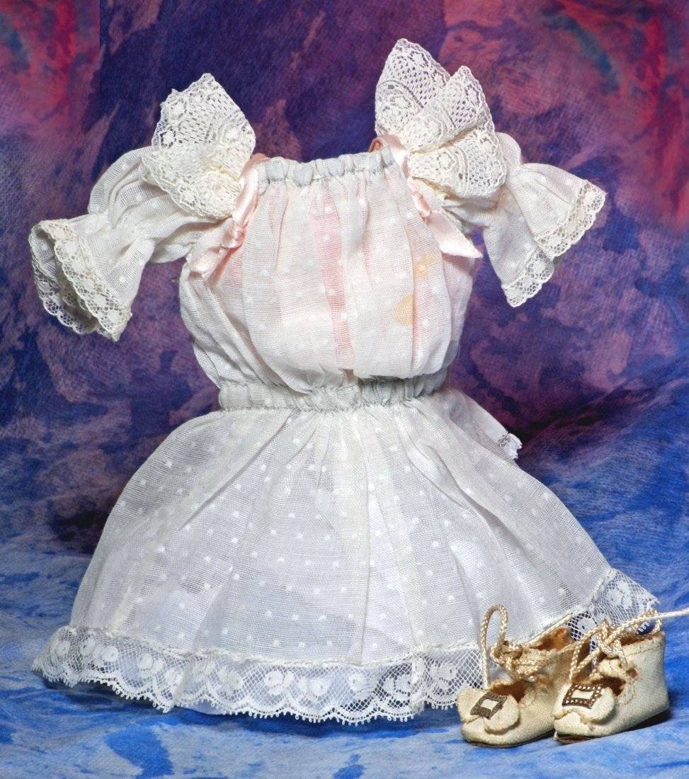 WHITE COTTON DRESS & LEATHER SHOES FOR SMALL DOLL.  2
