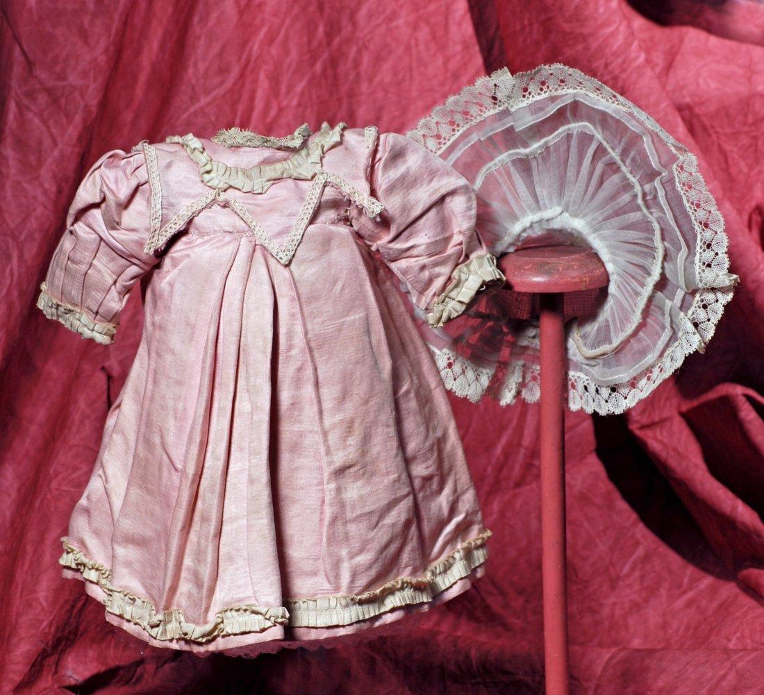 PINK SILK-SATIN JUMEAU BEBE DRESS AND WHITE SHIRRED