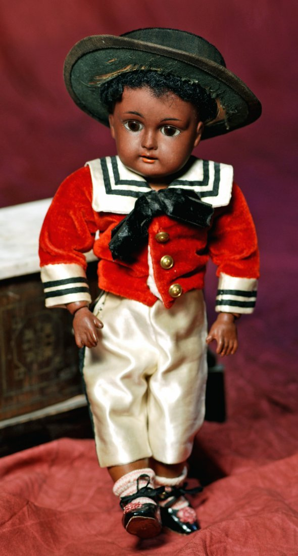 PETITE BROWN BISQUE DOLL BY KESTNER.  Marks:  Made in