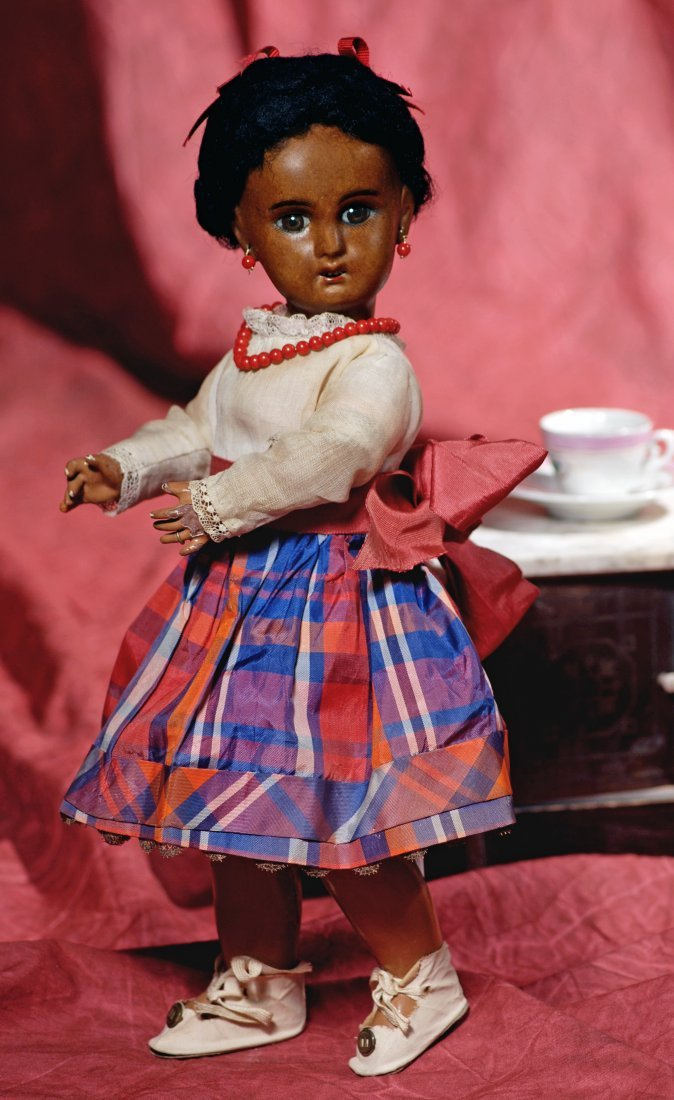 BROWN BISQUE BEBE JUMEAU, SIZE 3. Marks:  1907 / 3