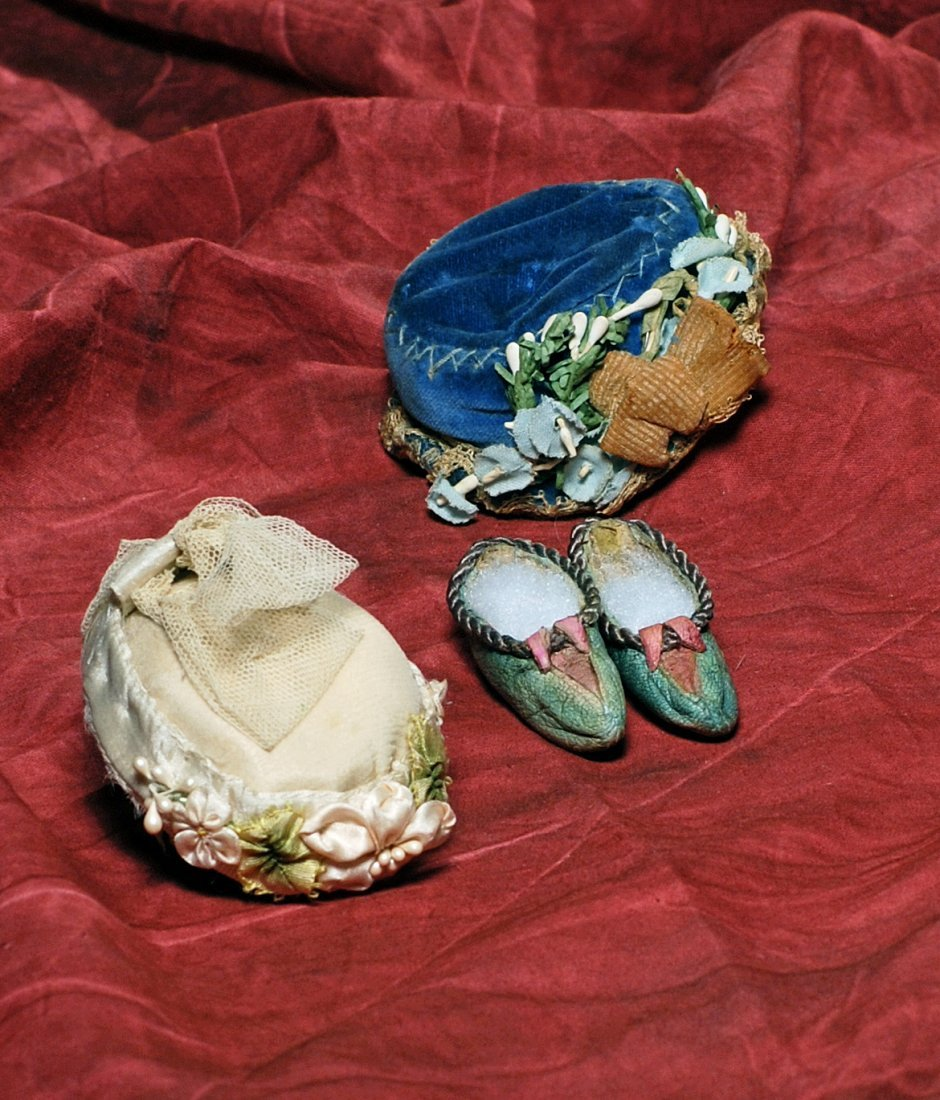 TWO FRENCH FASHION HATS AND PAIR OF SHOES.  Includes: