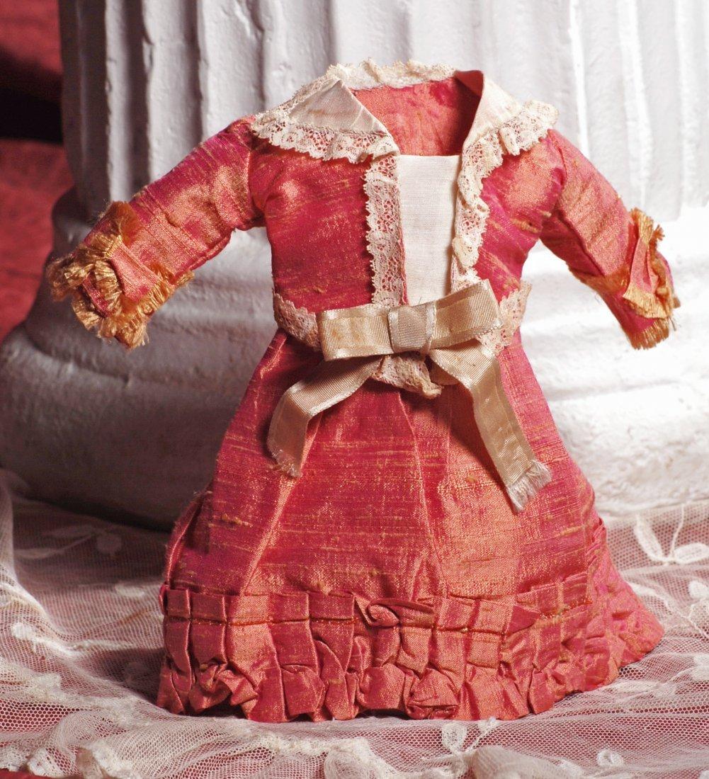 """ROSE SILK BEBE DRESS.  3 ¾"""" shoulder width, 8 ¼"""""""